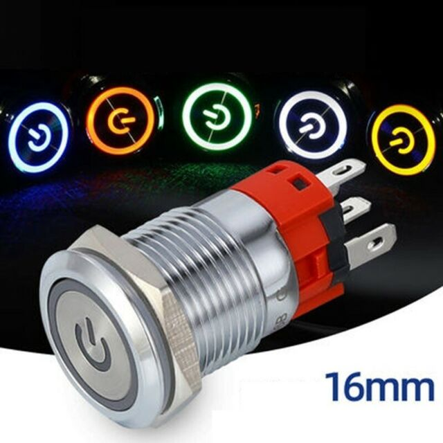 Stainless Steel Round Red Led Light 16mm 24V Push Button Switch Maintained