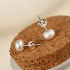 7mm 925 Sterling Silver Freshwater Pearl Stud Earrings