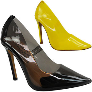 cfc765b40d LADIES WOMENS HIGH HEELS CLEAR PERSPEX POINTED TOE PUMPS SHOES SIZE ...