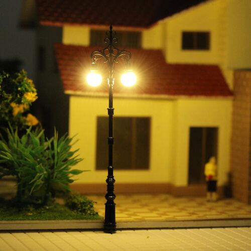 Modellbahn-Zweikopflampe 1:150 Straßenlampe 7.5cm LQS78 3Stk