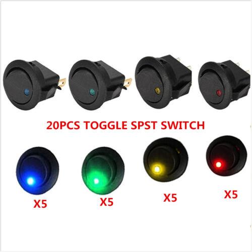 20PCS LED Dot Light 12V Car Auto Boat Round Rocker ON//OFF TOGGLE SPST SWITCH