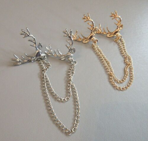 1 x stag head cloak pin shrug Collar Clip //Clasp double brooch waist cinch