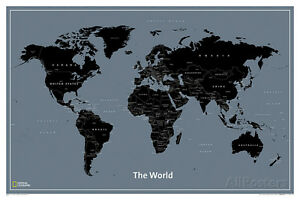 National geographic modern world map poster print 36x24 image is loading national geographic modern world map poster print 36x24 gumiabroncs Choice Image