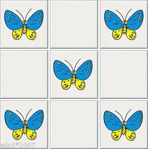 """PréCis 5 X Papillons 6"""" & 4"""" Carrelage Transferts Autocollants Couleur Pleine Imprimé Abeilles Daisy-afficher Le Titre D'origine"""