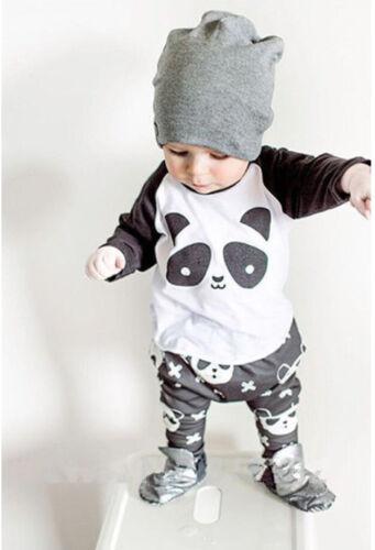 2PCS Toddler Kids Baby boys panda long Sleeve Tops+Pants Party Clothes sets D03
