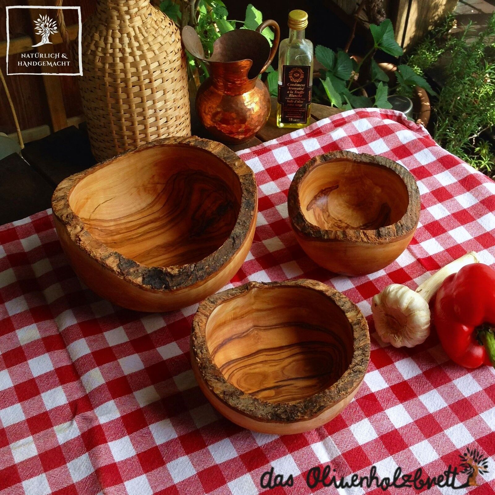 Coques set de Olivenholz holzschale bol coupelle bol quelque bois nature