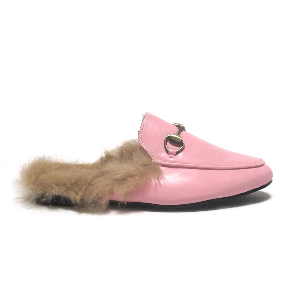 Horsebit Detailed Rabbit-Fur Lined Pink Princetown Slide Loafers Slippers