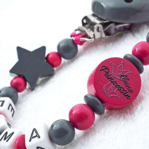Schnullerkette-mit-Namen-Maedchen-grau-pink-kleine-Prinzessin-Nuckelkette