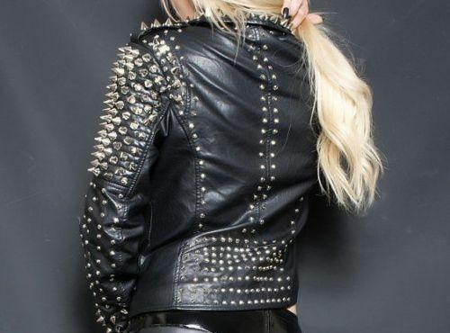 Woman's Spiked Studded Leather Jacket Black Biker Punk