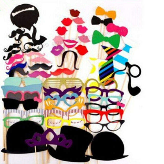 58PCS PARTY MASKS PHOTO BOOTH PROPS MUSTACHE ON A STICK WEDDING PARTY FAVOR DIY
