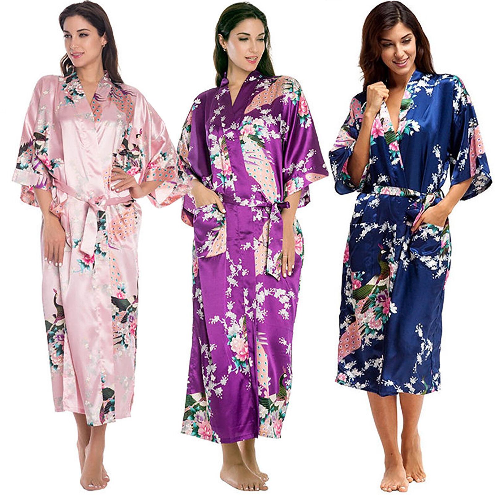 Women's Long Silk Bridal Robe Bathrobe Satin Silky Night Gown Bridesmaid Kimono