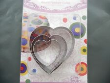 Set of 3 Metal Heart Shape Cookie Cutters For Cakes Baking Clay Pastry
