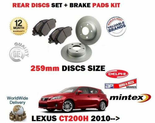 DISC PADS KIT FOR LEXUS CT200H 1.8 HYBRID 2010-/> REAR BRAKE DISCS 259mm SET