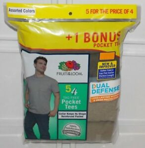 Fruit-of-the-Loom-Men-039-s-Pocket-T-shirts-Tees-5-pack-Assorted-Colors-Sizes-M-XL