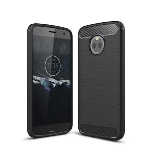 Motorola-MOTO-x4-GUSCIO-per-cellulare-Custodia-in-TPU-Carbon-Fiber-PROTEZIONE-COVER-BUMPER-NERO