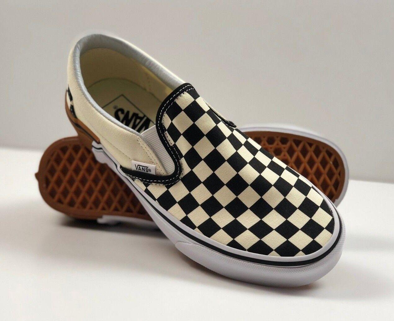 VANS Classic Slip-on Gum Block Checkerboard Black White Sneakers VN0A38F7U58