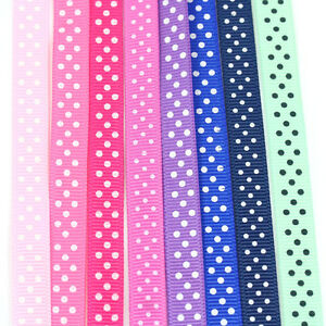 5-METRES-POLKA-DOT-10mm-GROSGRAIN-RIBBON-8-COLOURS-CRAFT-SPOTTY-CARDMAKING-ARTY