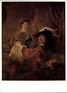 Scheda-di-artisti-casa-editrice-dell-039-arte-Dresda-pittore-Rembrandt-stesso-effigie-con-Saskia