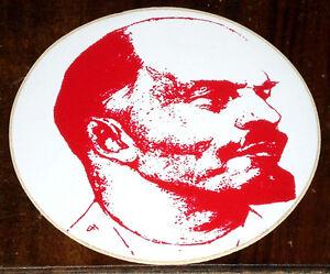 Lenin Adesivo Profilo Viso In Rosso Su Sfondo Rotondo Bianco Ebay