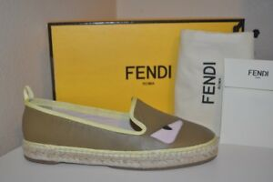 NIB FENDI Bugs Monster Face Espadrille Flat Slip On Shoe Multi Color 37.5 - 7.5