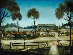PRO-HART-ORIGINAL-PAINTING-034-THE-HORSE-YARDS-OUTBACK-034-45-x-60-CM