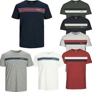 Jack-and-Jones-T-Shirt-Mens-Stripe-Crew-Neck-Short-Sleeve-Casual-Summer-Tee-Tops
