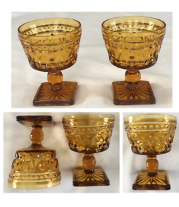 Vintage Indiana Glass  Sundae Dessert Cups Amber Colony PARK LANE 3/4-Cup 2-PC