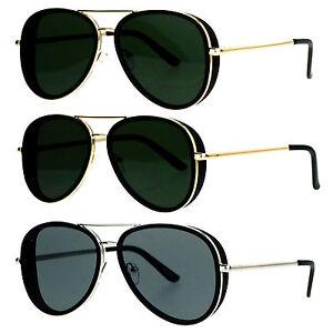 afcc3650d77 SA106 Mens Side Visor Vintage Style Flat Lens Aviator Sunglasses