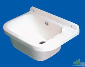 Lavandino Per Esterno In Plastica.Lavatoio Lavandino Per Esterno Resina A Parete Cm 50x35 Con Sifone