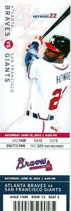 2013 Braves vs Giants Ticket: B.J. Upton hit two homers
