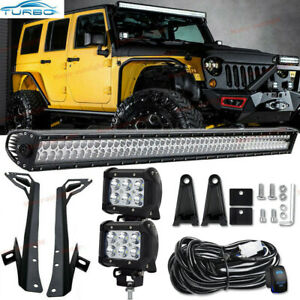 Details About For Jeep Wrangler Jk 07 17 52 700w Led Light Bar 2x 4 18w Pods Mounting Kits