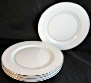 Mikasa Bridal Veil Bread & Butter Plates (Set of 4) White Scrolls Platinum Trim