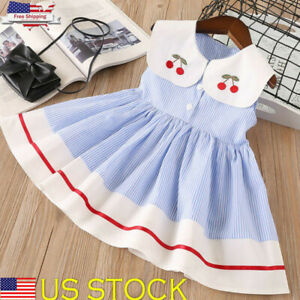 acd439a9a7c5 Image is loading Baby-Kids-Girls-Casual-Dress-Toddler-Princess-Party-