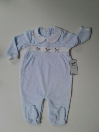 Baby boys spanish style smocked velour rocking horse baby grow 0-9 months