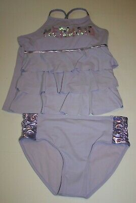 Justice Girls Size 12 14 or 20 Purple Mermaid Ruffle Tankini Bathing Suit NWT