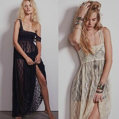 Women Sexy Sheer Lace Party Casual Evening party Cocktail Long Vintage Dress