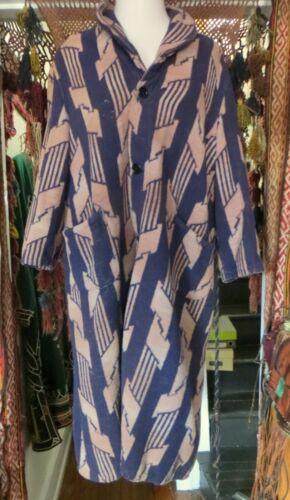 Vintage Unisex 30s/40s Beacon Blue and Cream Robe