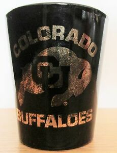 COLORADO-BUFFALOS-NICE-BLACK-amp-GOLD-SHORT-SHOT-GLASS