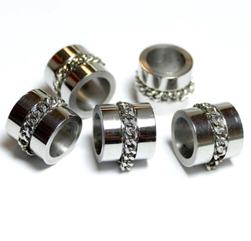 Acier Inoxydable Perle großloch Perle Avec Chaîne 10x9 mm Cylindre 1 Unités Bacatus Top *