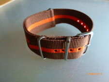 Uhrenarmband  Nylon braun orange 24 mm NATO BAND Dornschließe Textil