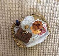Pat Tyler Dollhouse Miniature Wicker Basket Tray W/Cheese Book Wine 1:12