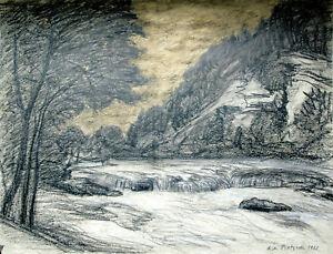 Richard-Pietzsch-1872-1960-Fluss-Alz-1902-Chiemgau-Landschaft-Mischtechnik-Gold