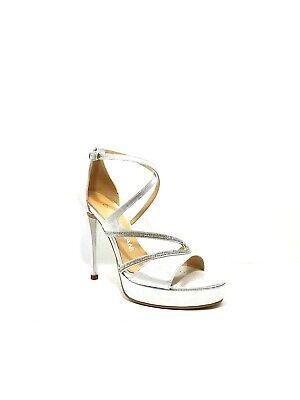 Brioso Scarpa Sandalo Elegante Carla Damiani 818 Cerimonia Bianca/argento/platino Prezzo Moderato
