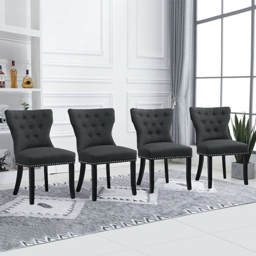 4Pcs Wing Back Accent Dining Chair Fabric Wood Leg Dining Room Kitchen Dark Grey