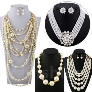 Necklace-White-Pearl-Chain-Chunky-Bib-Choker-Statement-Pendant-Christmas-Gift