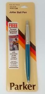 Parker Jotter Ballpoint Pen  Vista Blue  Made In Usa Brass New In Pack
