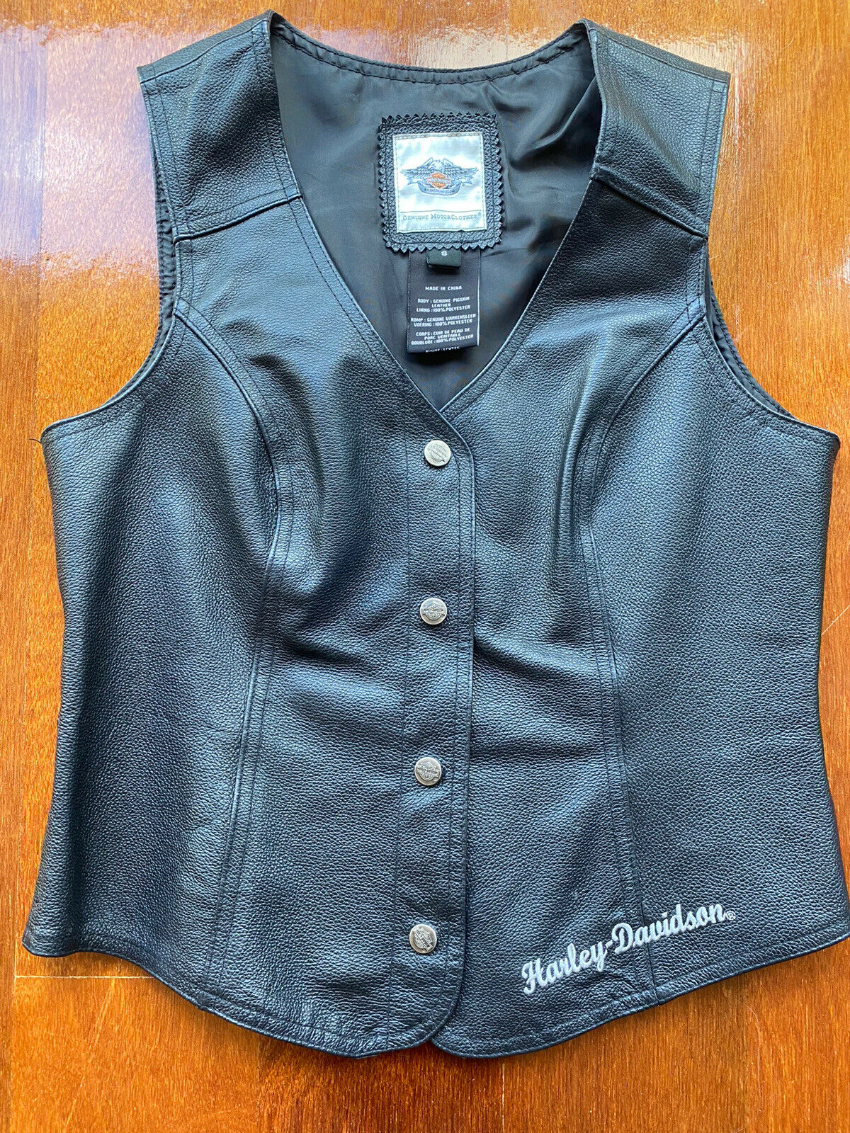 Authentic Ladies Harley Davidson Leather Vest Size S