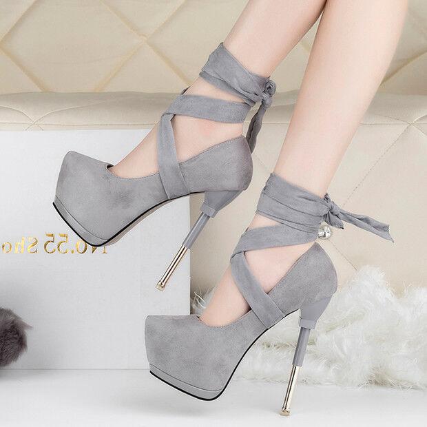 Moda barata y hermosa Descuento por tiempo limitado zapatos de salón invierno 15 tacón aguja gris cordones como piel cómodo 9558