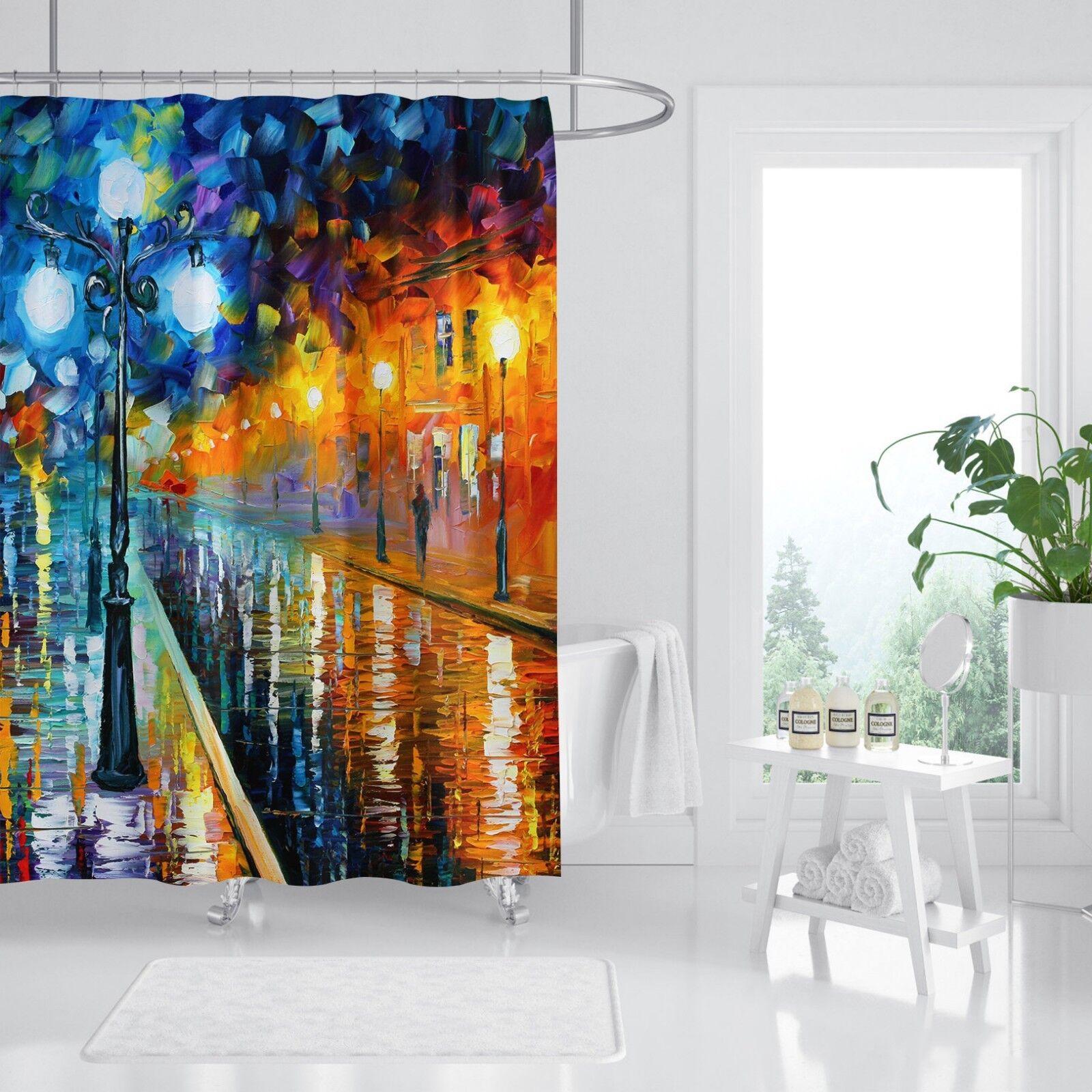 3D Straße Ölgemälde 7 Duschvorhang Wasserdicht Faser Bad Daheim Window Toilette