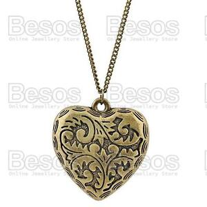 BIG-2-034-PUFFED-HEART-filigree-pendant-32-034-LONG-NECKLACE-vintage-brass-chain-GIFT-UK